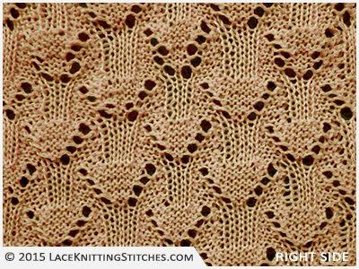 LACE KNITTING #8 |  Eyelet Diamonds stitch - Right side