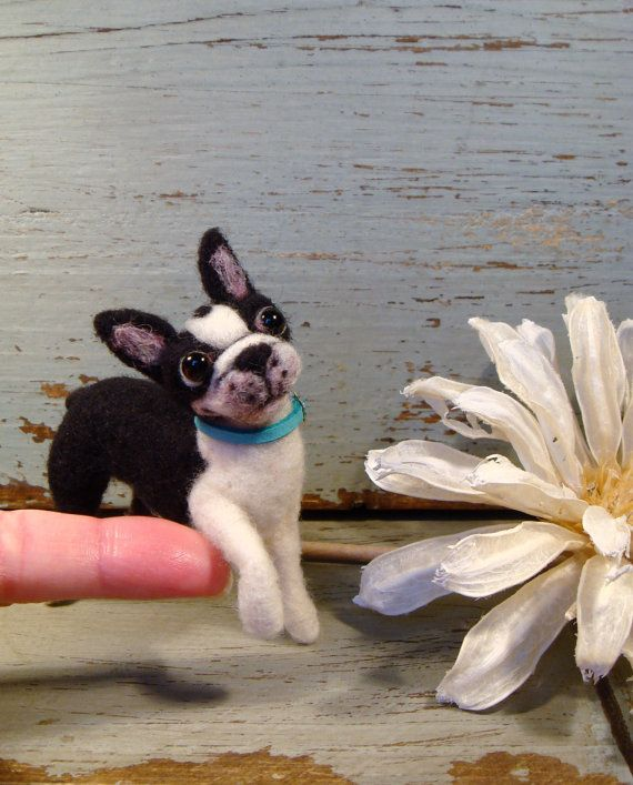 Boston Terrier, Miniature Boston Terrier, Needle Felted Boston Terrier, Handmade Boston Terrier
