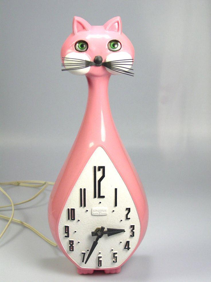 Vintage Spartus Cat Clock RARE Pink Model Mid Century Modern Retro Atomic Works | eBay