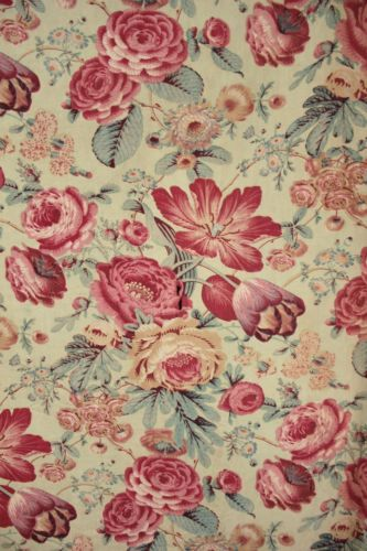 French Antique fabric c1850 green chintz floral design printed material old
