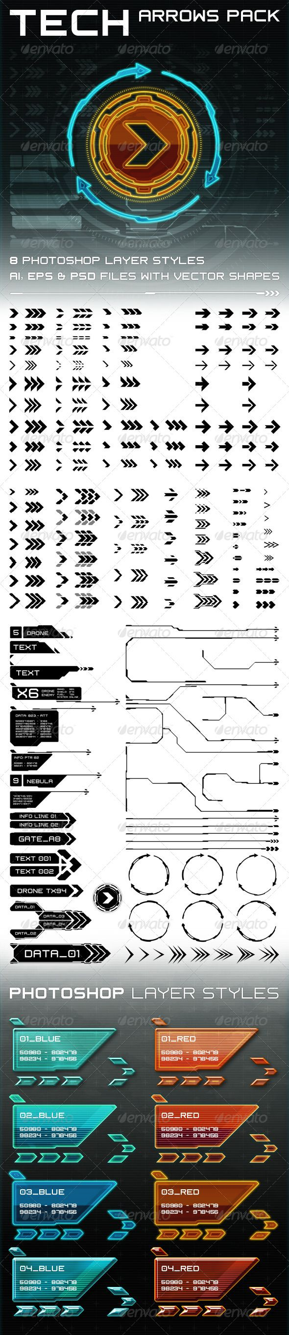 Tech Arrows Pack by CGcube on Envato