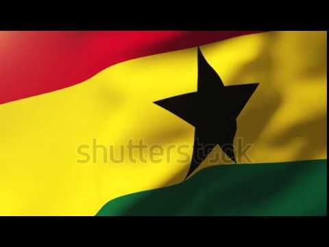 Ghana flag waving in the wind. Looping sun rises style. Animation loop S...