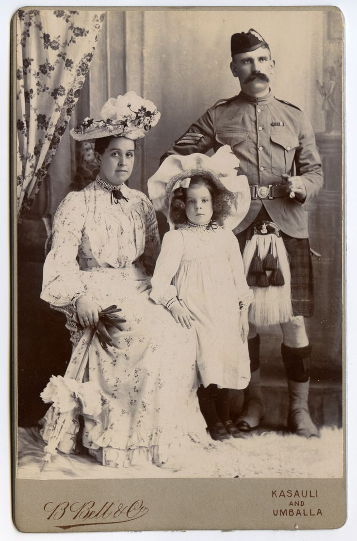 Soldiers of the Queen - Queen's Own Cameron Highlanders Sergeant and lovely family. India c1910 He wears the Queen's and King's South Africa's Boer War.
