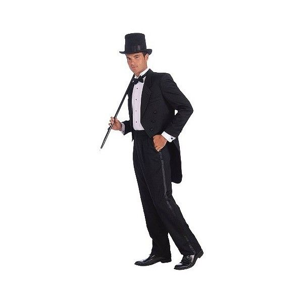 Men's Vintage Hollywood Tuxedo Costume ($29) ❤ liked on Polyvore featuring men's fashion, men's clothing, men's costumes, halloween and multicolored