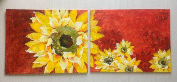 Dipinto moderno con grande fiore/ Girasole dipinto su legno/ Coppia di quadri con girasoli gialli/ Grandi quadri rossi  con fiori gialli by PaintingsByCipeCcop #italiasmartteam #etsy