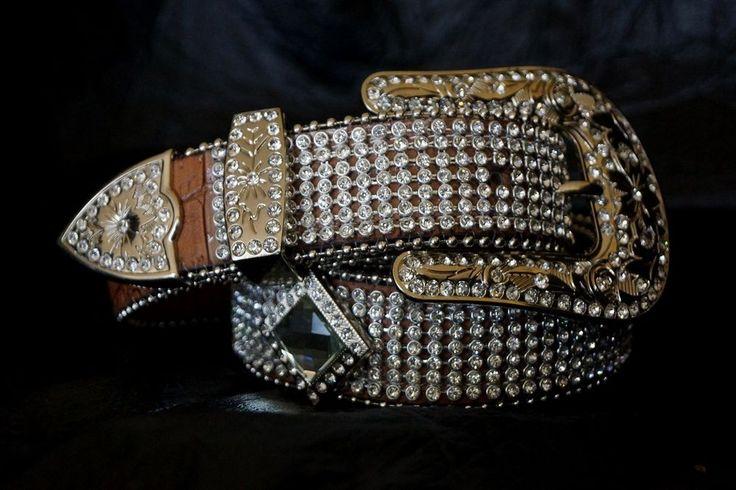 Ladies Western Concho & Rhinestone Blinging Cowgirl Belt - Silver Buckle