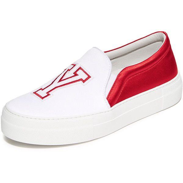 Joshua Sanders NY Slip On Sneakers (€94) ❤ liked on Polyvore featuring shoes, sneakers, cheerleaders, pull on sneakers, slip on trainers, pull on shoes, platform shoes and platform slip-on sneakers