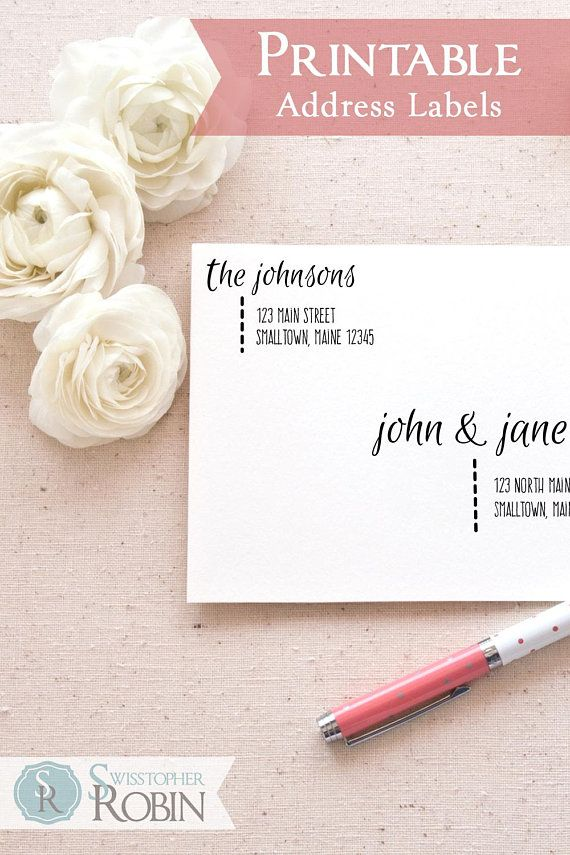 Printable Return Address Labels Template Casual Calligraphy