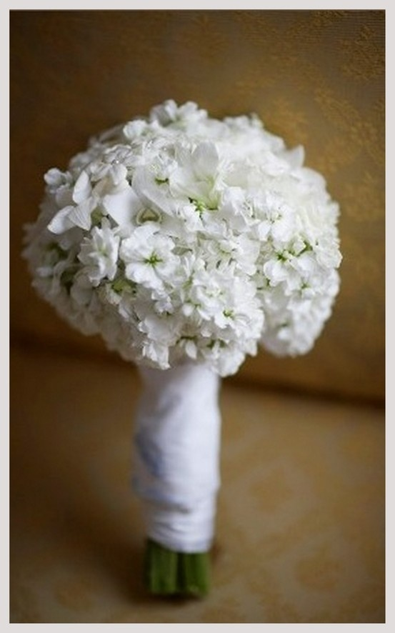 White Stock Flower Bridal Bouquet
