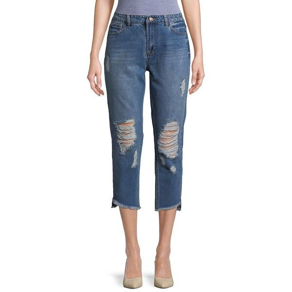 Kensie jeans Women's Distressed High-Rise Jeans ($68) ❤ liked on Polyvore featuring jeans, blue, high rise ripped jeans, ripped jeans, high waisted ripped jeans, high waisted jeans and blue jeans