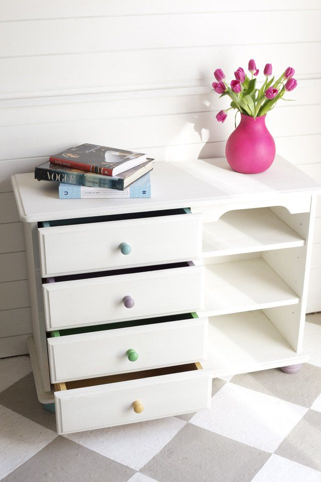 White with multicoloured drawers
