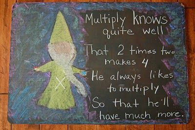 Waldorf ~ 1st grade ~ Math ~ Four Processes ~ Gnome Times Multiply ~ chalkboard drawing