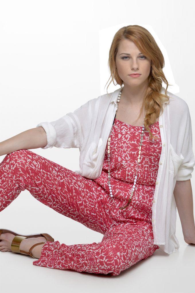 Sarah Lawrence - draw string waist printed jump suit, long sleeve shirt.