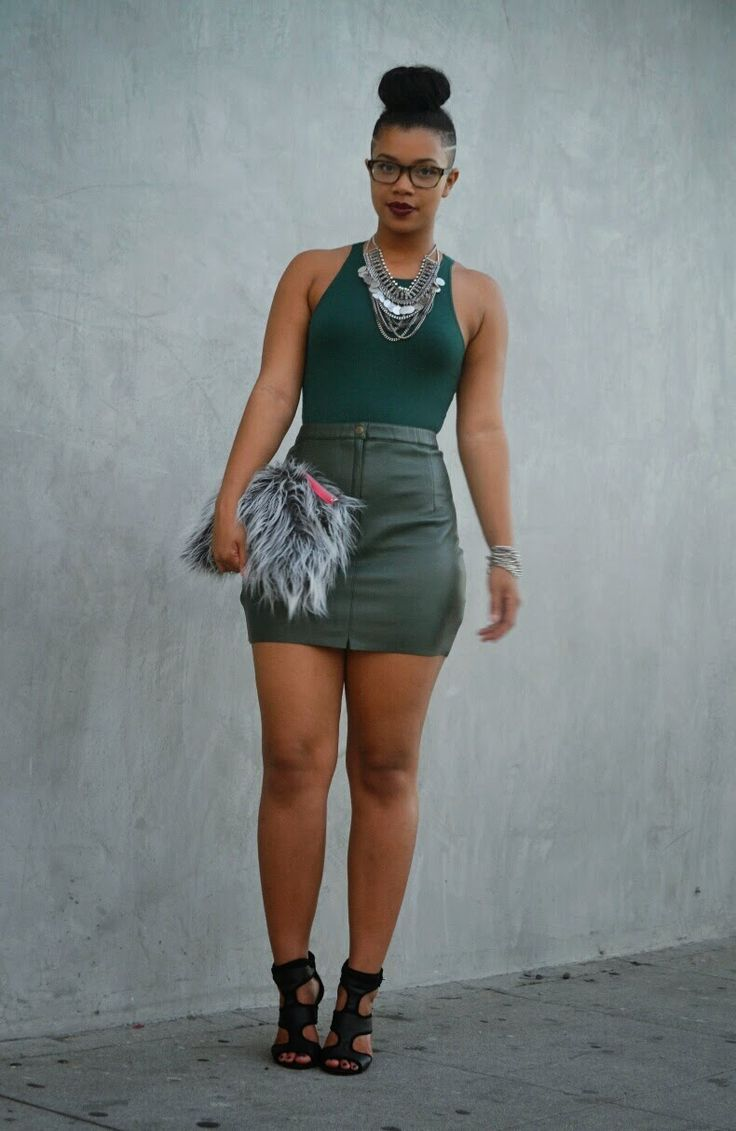 emerald green leather skirt faux fur gray clutch she