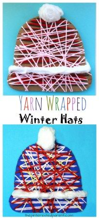 Printable template -Yarn wrapped winter hats crafts, wonderful for fine motor skills - kids arts and crafts for the winter