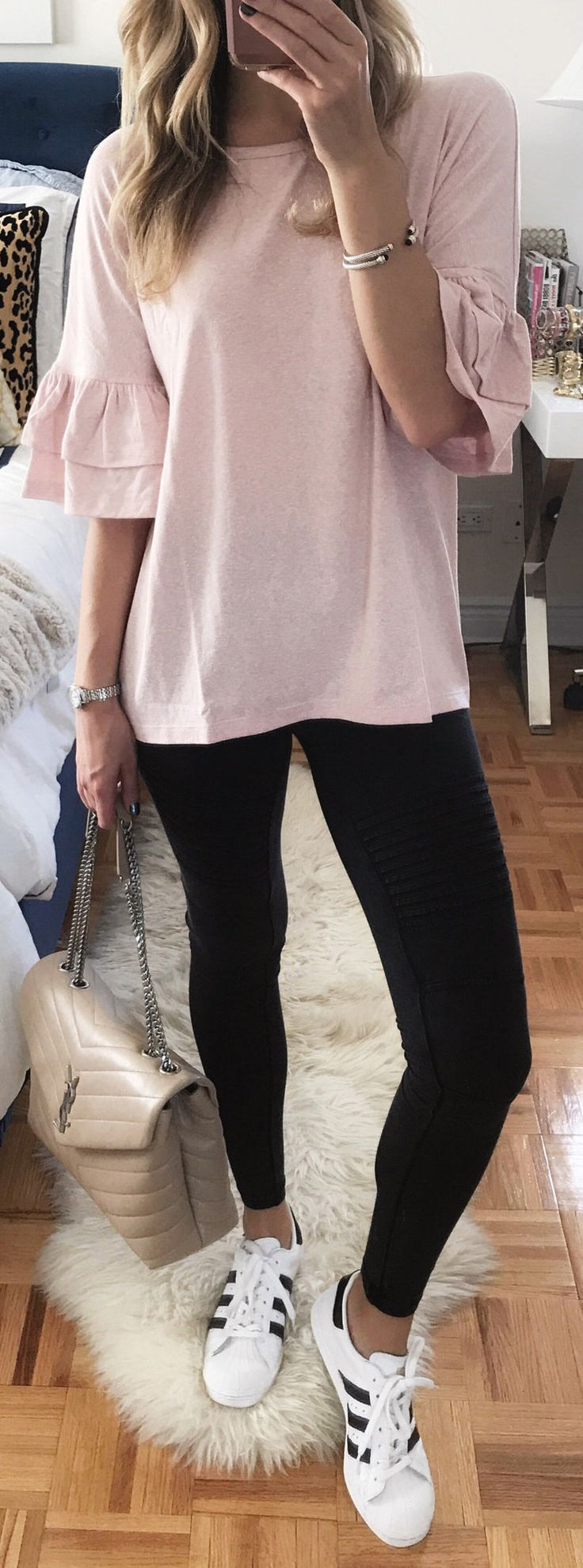 #fall #outfits / pink knit + leggings