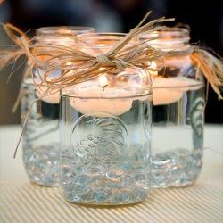 Mason jars and floating candles