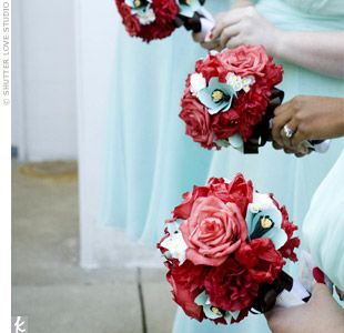 magenta and aqua wedding flower arrangements | Robin & Danny: A Red and Aqua Wedding in Chesterland, OH