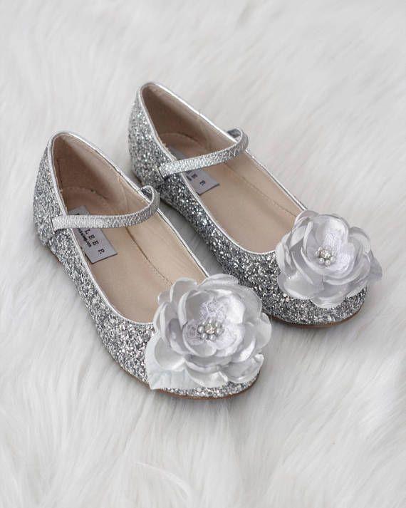 43cd79a393720 SILVER Rock Glitter Maryjane with SILK FLOWER for flower girls ...