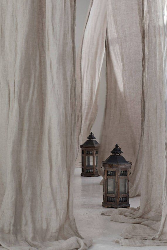 Pure Linen Curtains 59x118 Canopy Over The Bed Linen Curtain Panel Light And Transparent Linen Muslin In Natural Flax Color Cortinas De Lino Cortinas Para Ventanales Cortinas