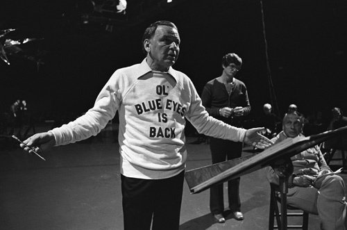"""Frank Sinatra rehearsing for the television special """"Ol' Blue Eyes Is Back"""""""
