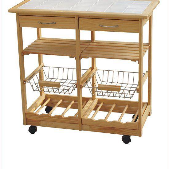 Carrello da cucina portavivande in legno tinta naturale con piano in ceramica 77 X 37 X 75h cm http://www.brichome.it/prodotti/carrello-in-legno-da-cucina-con-piano-in-ceramica-2-portabottiglie-2-cassetti-2-vassoi-portafrutta/