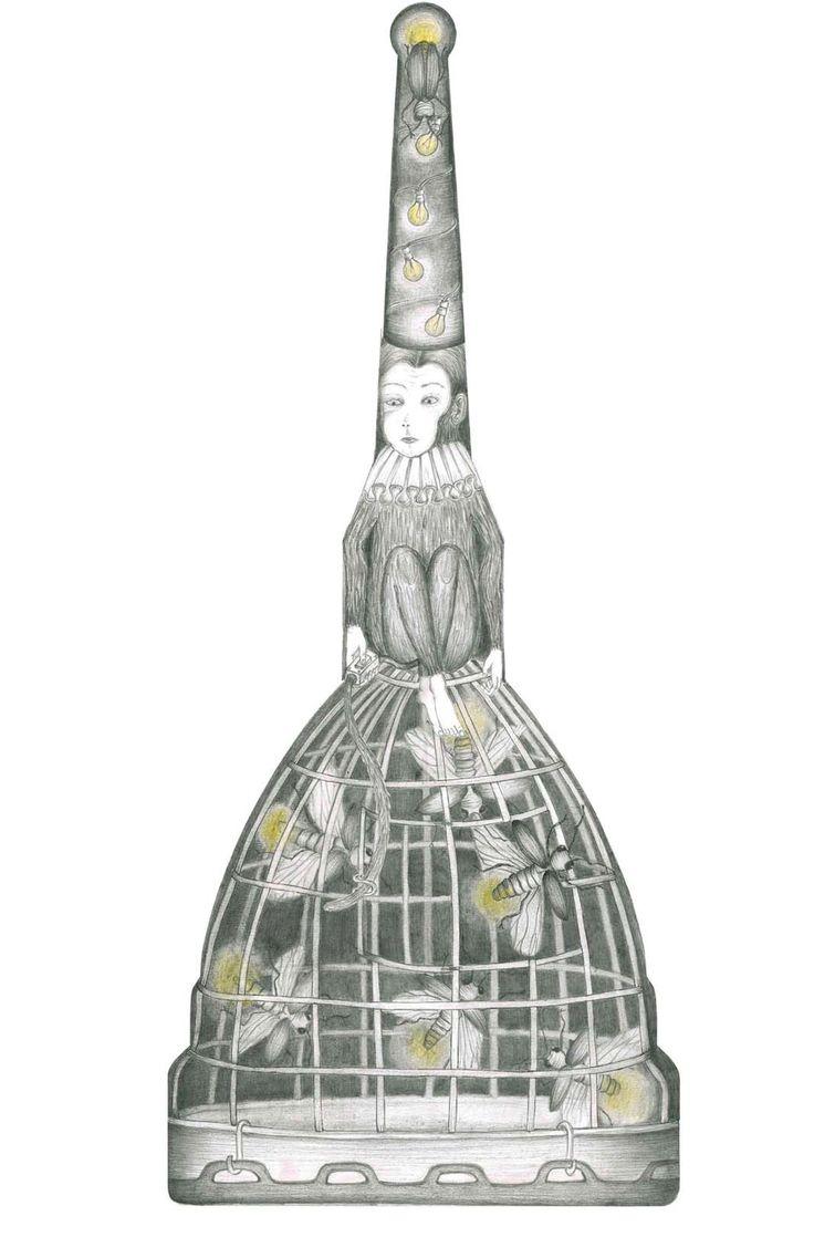 MOLUCCIOLA: fireflies and monkey in/on mole antonelliana, drawing for www.thatsamole.com