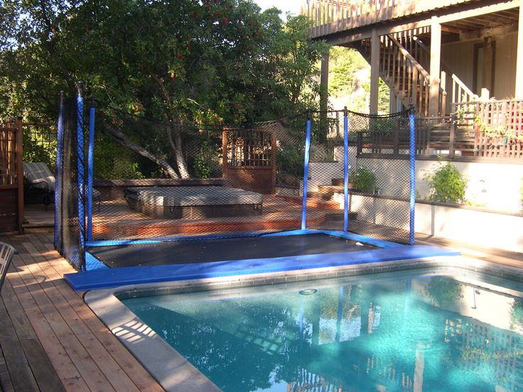Pools & Water Features... Trampoline sure beats the ol' boring diving board! – Confidence Landscaping, Inc