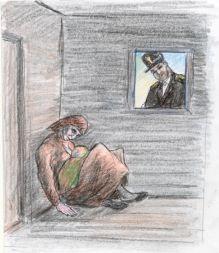 """Tegning af fortællingen """"Karens Jul""""  Opbygning:  1) En klassisk indledning, hvor vi hører om      miljøet og omgivelserne  2) Han møder hende, og hun er levende 3) Han lader hende være - og går hjem 4) Han kommer tilbage, og hun er død 5) En afslutning, hvor det fortælles, at huset         rives ned.   Sproglige virkemidler:  Billedsprog -> stort brug af tillægsord -> skaber stemning + afbilleder forholdende.  Replikker -> forståelse af samtiden"""