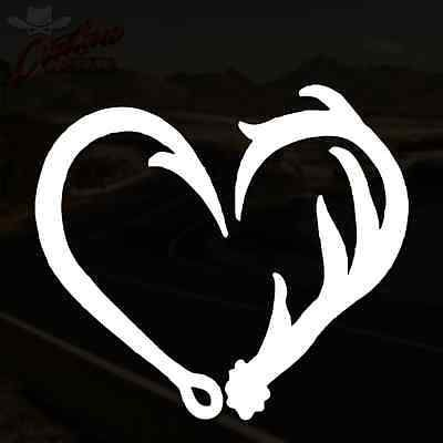 Antler Hook Heart Decal Hunting Fishing Car Truck Sticker PICK YOUR SIZE & COLOR