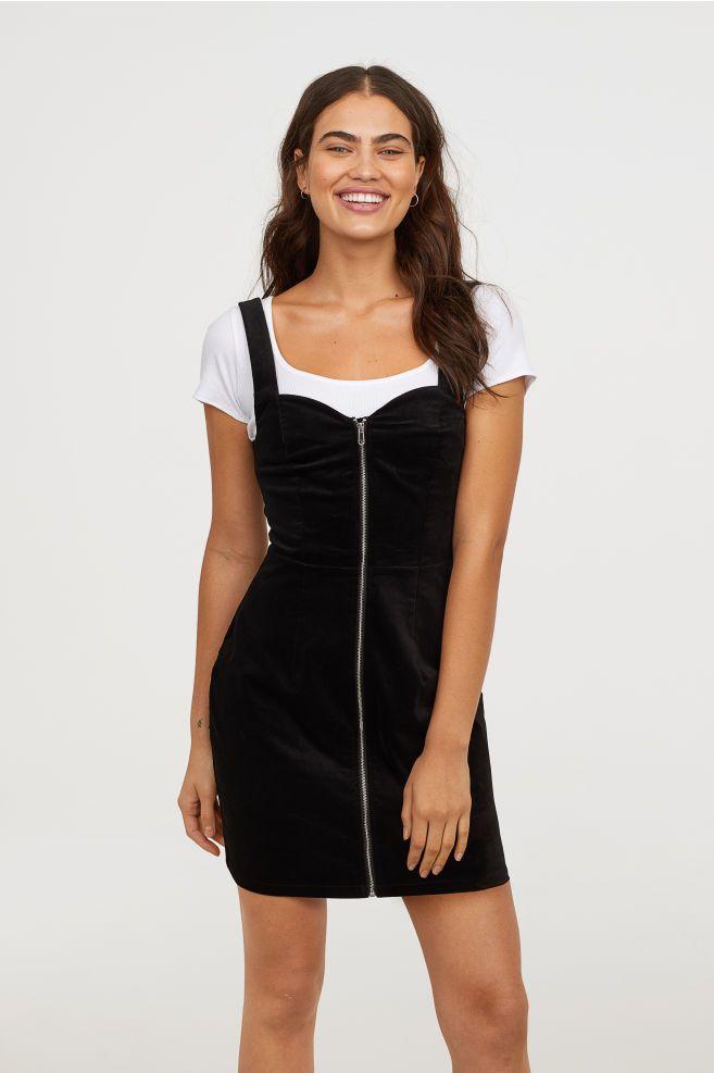 1b4d202106c Velvet Bib Overall Dress - Black - Ladies