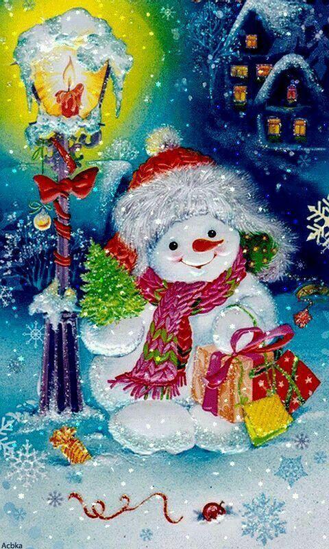 Снеговик открытка на новый