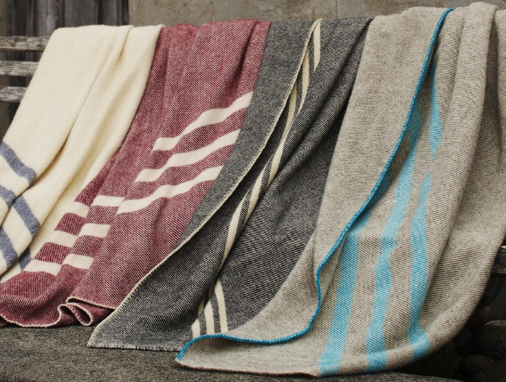 Striped Wool Blanket made with Canadian wool! A rare find. You can feel one at GreenWorks in Vancouver