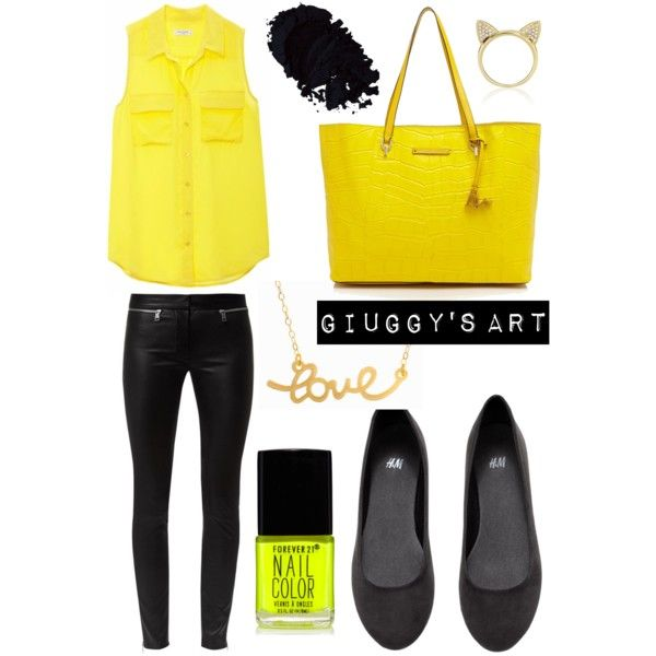 Yellow Love by giuggysart on Polyvore featuring polyvore, moda, style, Equipment, Alexander McQueen, H&M, Diane Von Furstenberg, Aamaya by priyanka, Minnie Grace and Forever 21