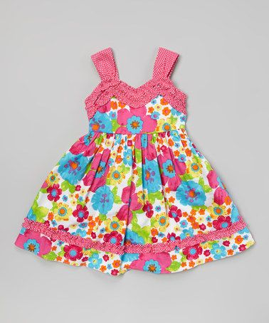 Look what I found on #zulily! Pink & Turquoise Floral Ruffle Dress - Toddler & Girls by Youngland #zulilyfinds Inspiration