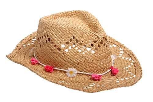 Straw hat with flower garland