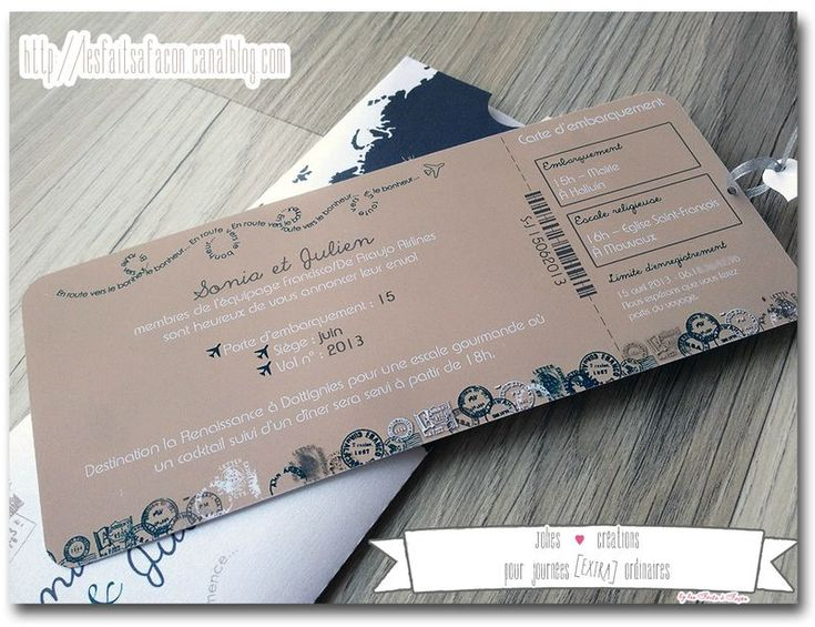 Cute, airplane ticket themed wedding invitation cards! Love the map details