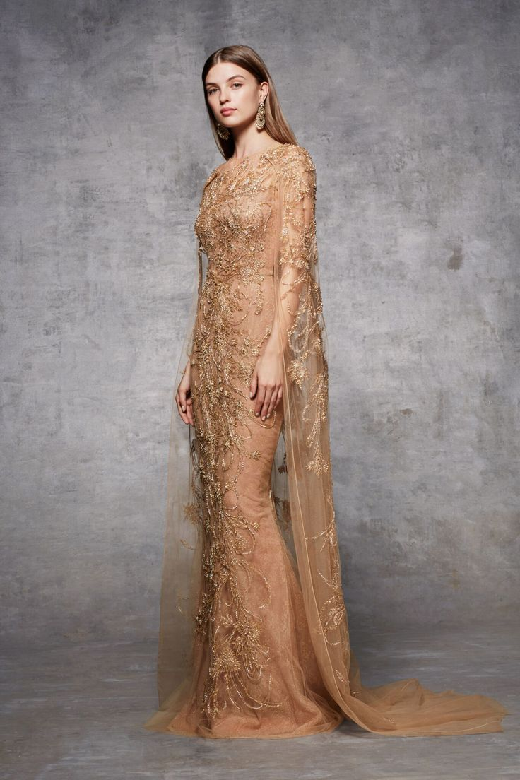 Metallic outlined wheat and leaf threadwork embroidered floor length detachable cape