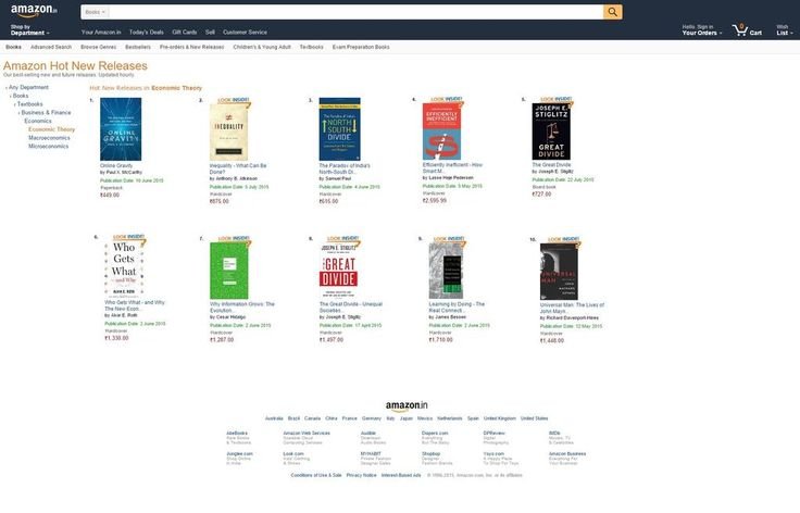 Amazon India: Top 10 Hot New Releases in Economics Theory. Asymmetry a common theme. Three by Nobel laureates.