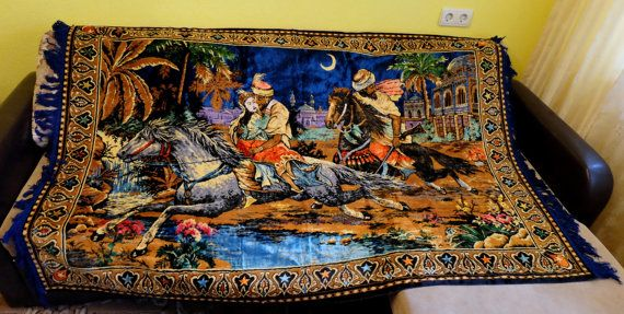 Antique Kilim Oriental Story German carpet Soviet by MadeInTheUSSR