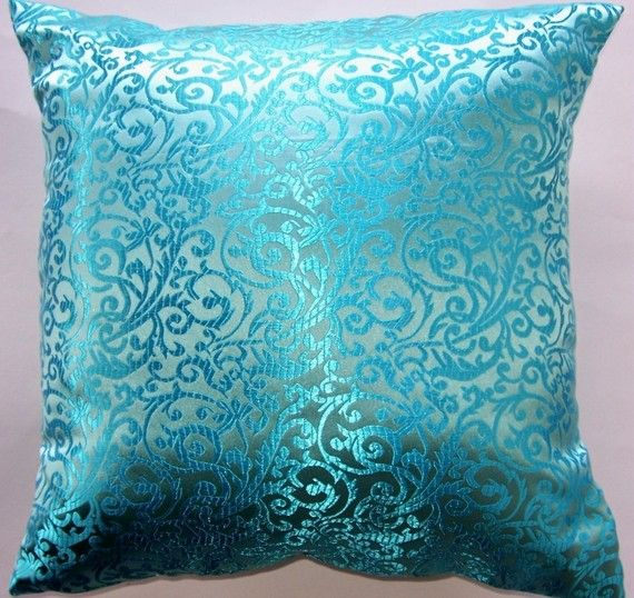 Turquoise Throw Pillow Cover - Satin Brocade Cushion Cover - 16 x 16. $16.99, via Etsy.