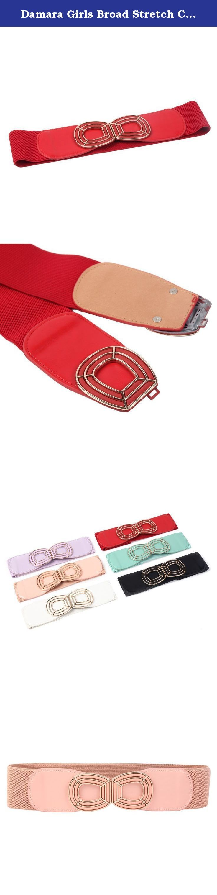 Damara Girls Broad Stretch Ceinture Girdle Belt,Pink. The pretty wide belt is made of elastic fabric .At each end of the belt ,is a color-matched metal head with a metal frame.It has double clasps closure. So fashion and adorable is it that it would be a perfect decoration for your dress, loose T-shirt, windbreak,etc. Suitable for female at all daily occasions.The belt is strech, and the natural length/waist is 62 cm (24.8 inch).Belt Width : 5.9cm/ 2.3 inches.