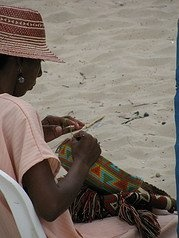 Wayuu woman weaving a SuSu Bag. The first day of the standard 15 days it takes to make each bag.