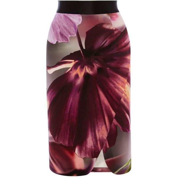 Coast Zanzibar print pencil skirt (4,220 INR) ❤ liked on Polyvore featuring skirts, clearance, patterned skirts, flower print skirt, floral knee length skirt, floral skirt and purple pencil skirt