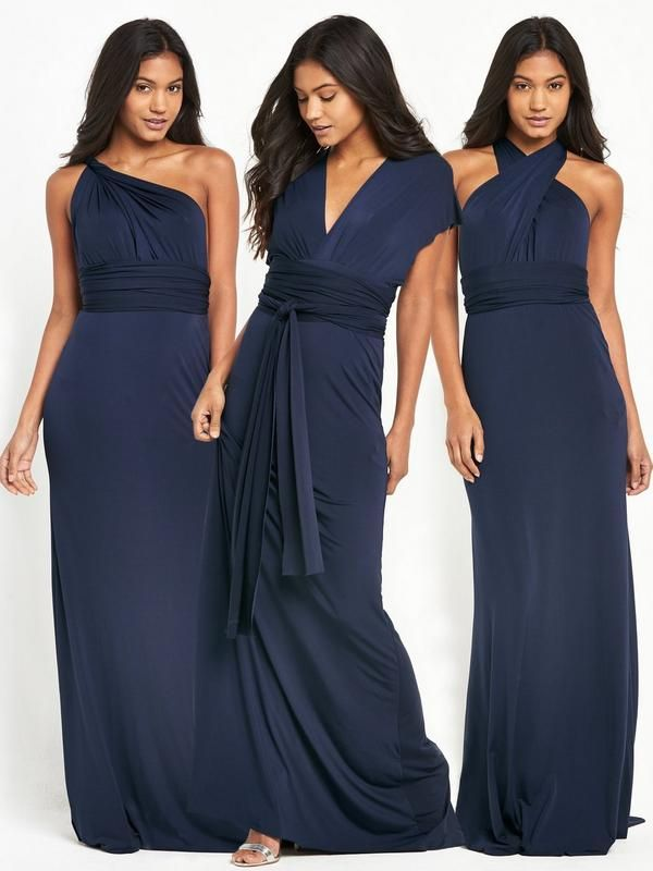 TFNCFelpa Multiway Fishtail Maxi Dress - Navy A real investment piece, the Felpamultiway maxi dress by TFNC is perfect for all your glam occasions this season and means you can get away with wearing the same dress againand again, but no-one will know! The multiway design allows you to switch up your look from a sexy one-shoulder or stunning halter neckto a plunging V-neck with waist tie!It's a glamorous fishtail that was made to be shown off at special occasions. Just add silver metal...