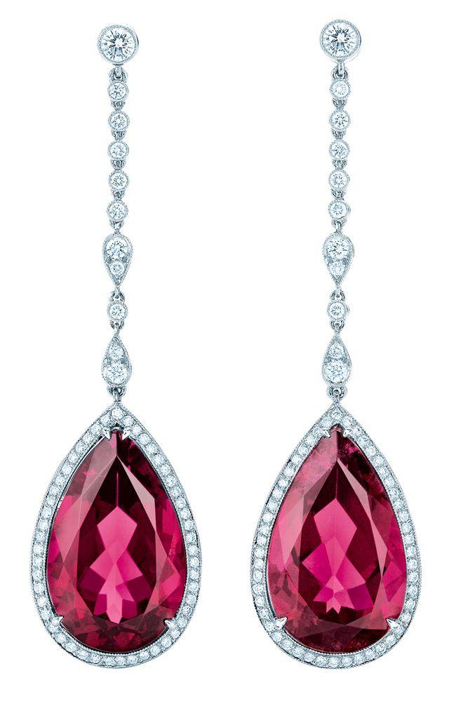 Pendientes de rubelitas y diamantes de Tiffany & Co .