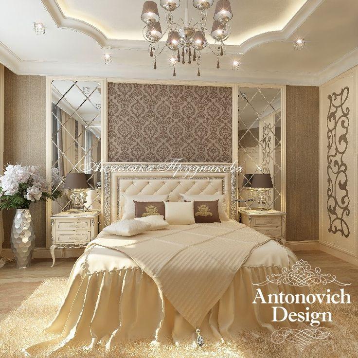 Интерьер спальни в золотистых тонах в стиле АР-Деко - 3D-визуализация и фото дизайн-проекта - Дизайн спальни