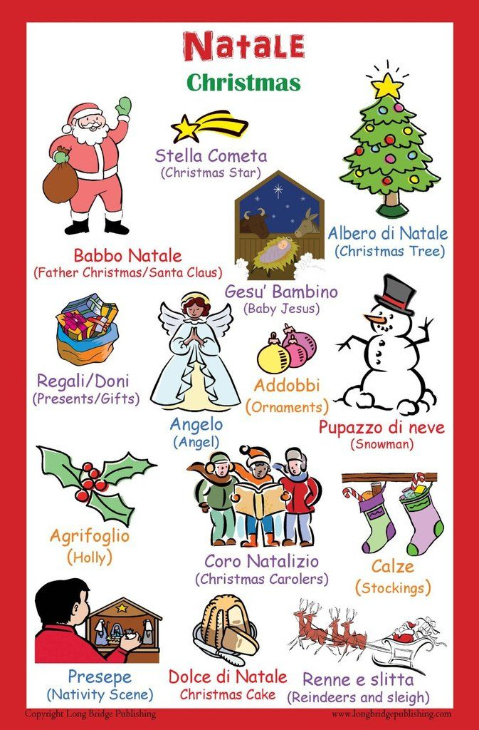 This colorful poster includes most common Christmas related words, listed in Italian with the corresponding English translation.  Glossy poster paper Poster size: 11x17 inches