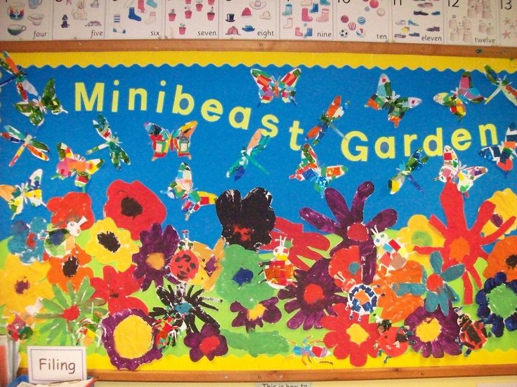 Minibeast garden - free painting of flowers and collage minibeasts (Reception class)