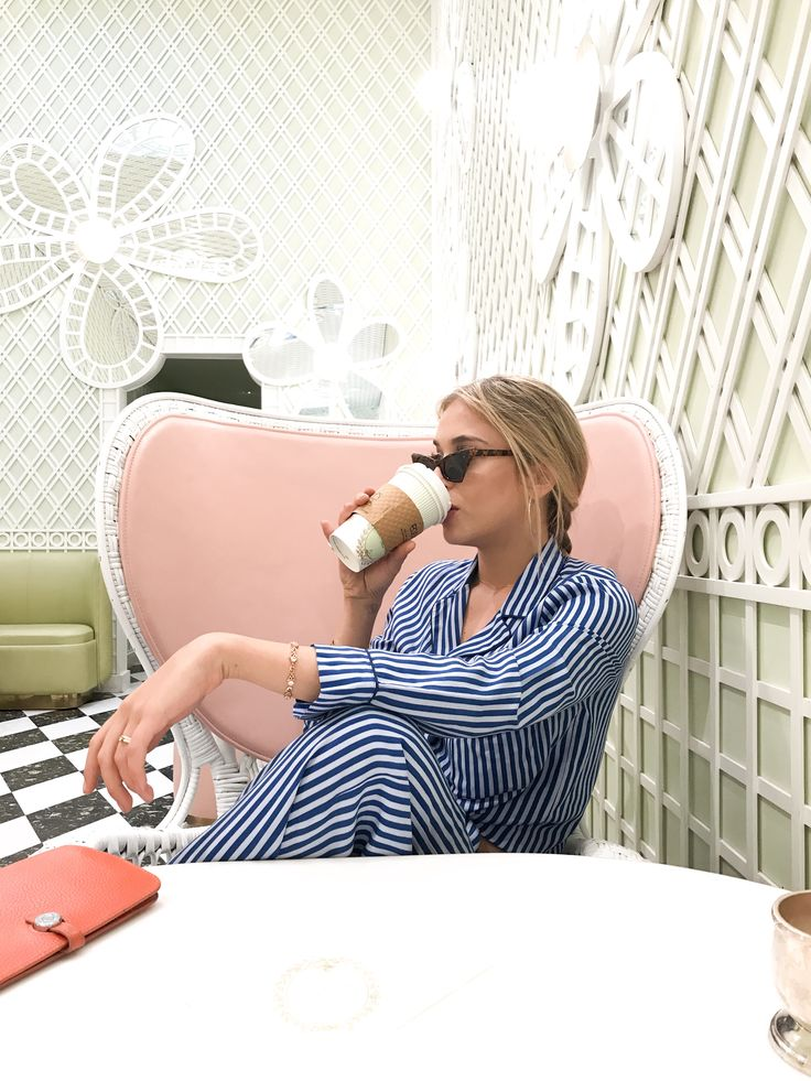 Ladurèe afternoons with ☕️ and our striped PJ's never looked so good 💙